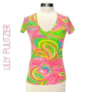 "LILLY PULITZER Michele Tee ""All Nighter"" Flamingo"